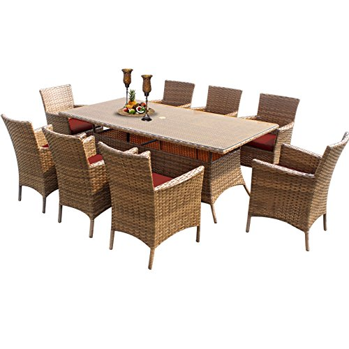 TK Classics Laguna Rectangular Outdoor Patio Dining Table with 8 Chairs, Terracotta
