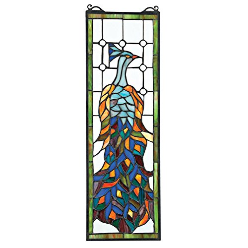 Peacock Stained Glass Panel - Stained Glass Panel - Pleasant Peacock Stained Glass Window Hangings - Window Treatments