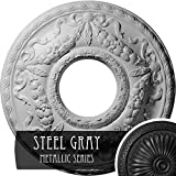 Ekena Millwork CM26HUSGS 22 1/8'' OD x 7 ID x 1 3/4'' P Hurley Ceiling Medallion (fits Canopies up to 7 1/4''), Hand-Painted, Steel Gray