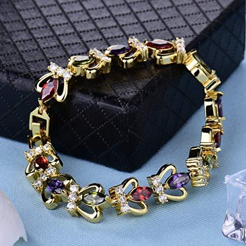 FidgetFidget 24K Yellow Gold Filled Multi-Color Marquise Cut Topaz Crown Tennis Bracelet 7