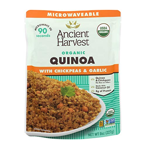Ancient Harvest Certified Organic Microwavable Quinoa Pouch, Quinoa With Chickpeas And Garlic, 8 oz (Pack of 12)