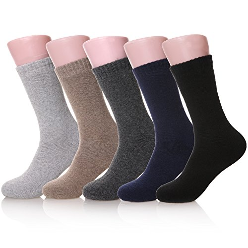 5 Pairs Mens Wool Soft Comfort Thick Cotton Warm Winter Crew Socks (5 Pairs Solid color) (Work Wool Sock)