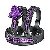 Dabangjewels Heart Shaped 2.80cttw Purple Amethyst 14k Black Gold Plated Wedding Ring Trio Bridal Set for Him & Her
