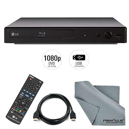 LG Electronics BP165 Blu-Ray Disc Player and HDMI Cable + Remote + FiberTique Cleaning Cloth