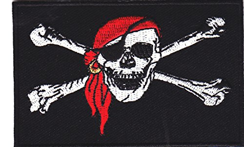 JOLLY ROGER PIRATE FLAG - SKULL & CROSSBONES - BIKER - IRON ON EMBROIDERED PATCH