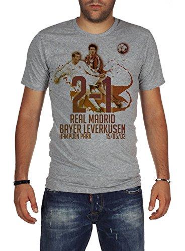 Palalula Men's Champions League Final 2002 Real Madrid vs Bayer Leverkusen T-Shirt XXXXL Grey
