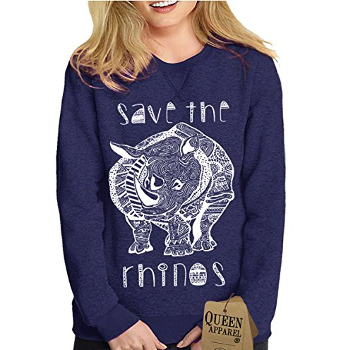 Queen Apparel- Save the rhino sweatshirt Eco womens (Small, navy)