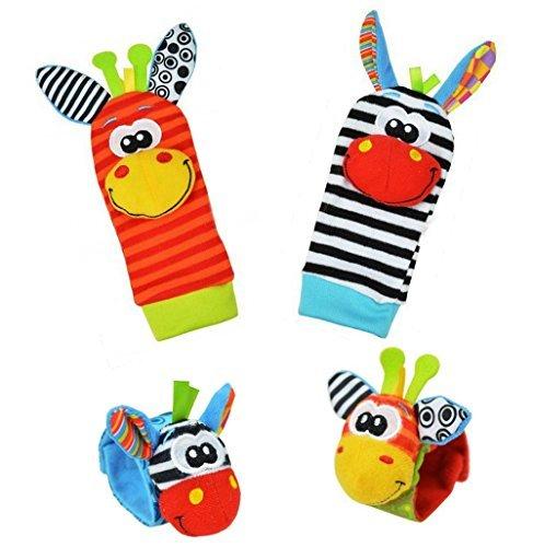 Baby Learning Fun - Animal Wrist and Sock Rattle Soft Developmental Toy Gift Set 4 Pcs - Zebra & Giraffe (Teething Fun Rattle)