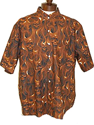 Skull and Ghost flames Motorcycle Full Print Dress Shirt (Fire) (Flame Skull Button Down Shirt)