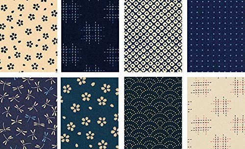 8 Japanese Import Sevenberry Kasuri Indigo Fat Quarter Fabric Collection #14 (2 Yards Total) from Debsews Fabric