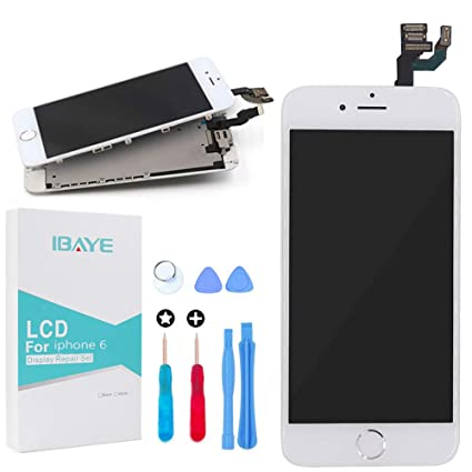 timeless design 7a6ad c8882 LCD Display Touch Screen Digitizer Glass Lens with Camera and Home Button  Assembly Repair Replacement for iPhone 6 (4.7) inch with Tools White