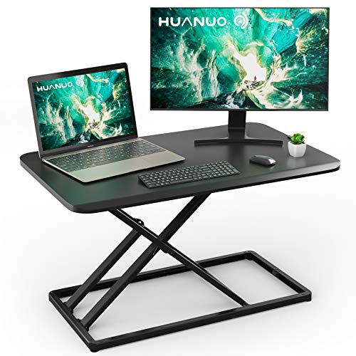 Height Adjustable Standing Desk Converter Slim Sit to Stand up Desktop Gas Spring Riser, 30 inch Workstation Tabletop for Laptop & Computer Monitors by HUANUO