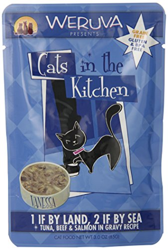 Weruva Cats in the Kitchen, 1 if By Land, 2 if By Sea with Tuna, Beef & Salmon in Gravy Cat Food, 3oz Pouch (Pack of 8)