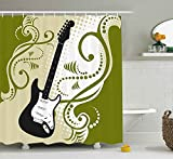 Music Shower Curtain by Fhddk, Electric Bass Guitar Figure with Swirls Background Artful Illustration, Fabric Bathroom Decor Set with Hooks, Olive Green White Black