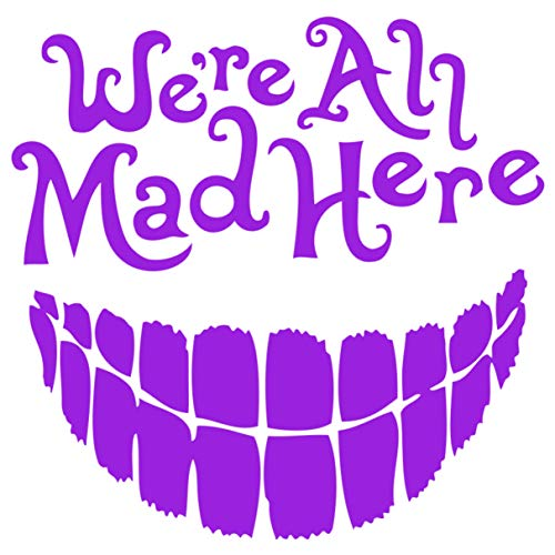 We're All Mad Here Alice in Wonderland Cheshire Cat Decal Vinyl Sticker (5.5″ Inches, Light Purple)