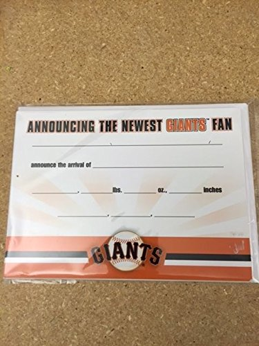 (San Francisco Giants Birth Announcements pack of (10) Fully Licensed)