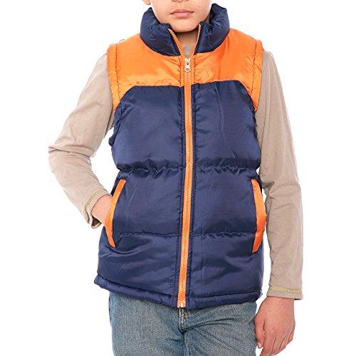 Boys Fleece Vest Navy/Orange 38-40in Chest Length 25 Boys' 14-16
