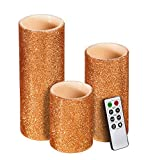 Cypress Home Copper Glitter Battery Operated Flameless LED Wax Pillar Candle with Remote, Set of 3