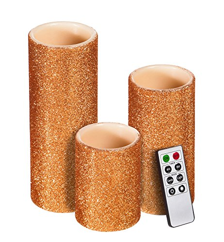 Cypress Home Copper Glitter Battery Operated Flameless LED Wax Pillar Candle with Remote, Set of 3 by Cypress Home