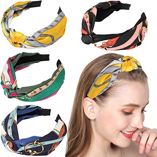 4Pcs Hair Hoop Knot Wide Headbands for Women Boho Turban Cross Knot Hair Bands Vintage Women's Hair Accessories Headband for Women Girls ()