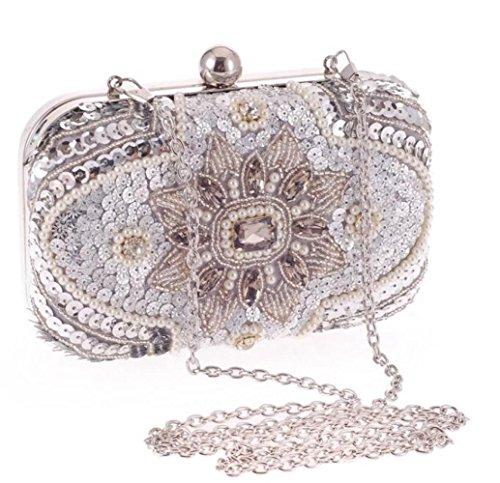 Perlé WLFHM Sac Pochette Femme Sac Chaîne Sac Messager Sac Perlé Pour De Silver De Diamant Casual 48rnP8