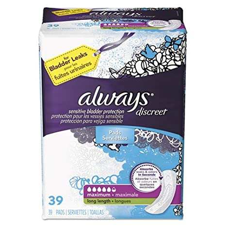 Amazon.com : Discreet Sensitive Bladder Protection Pads, Maximum, Extra Long, 39/pk : Office Products