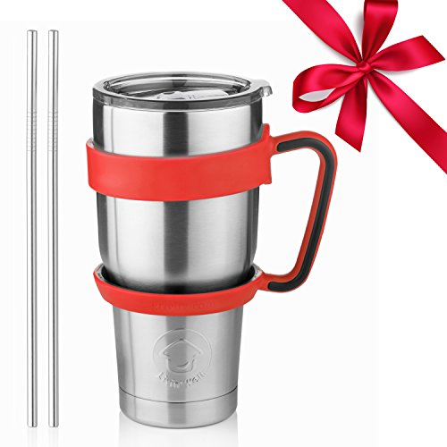 Stainless Steel Tumbler Travel Mug - 30 Oz Tumbler Insulated Coffee Mug with Removable Handle No-Spill Lid and 2 Stainless Steel Straws (Red Grip)