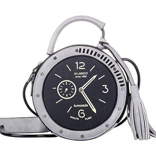 QZUnique Women's PU Tassel Round Clock Shape Zippered Tote Handbag Cute Satchel Cross Body Shoulder Bag Gray