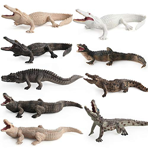 Fantarea Simulation Realistic Wild Life Jungle Animal Figures Model Figurines Crocodile Family Playset Eduactional Toys Party Supplies Playset Toys for 5 Years Boys Girls Toddler (9 pcs)