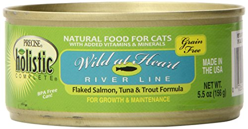 Precise Holistic Complete Wild at Heart Riverline Grain-Free Cat Food - Flaked Salmon Tuna Trout, 5.5-Ounce, 24 Cans