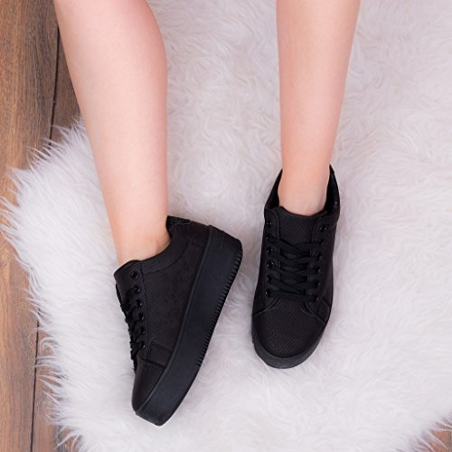 Lace Up Flat Trainers Shoes Black Leather Style SZ 4