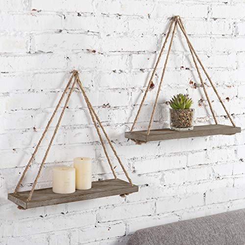 MyGift 17-inch Rustic Whitewashed Brown Wood Hanging Rope Swing Shelves, Set of 2 by MyGift (Image #1)
