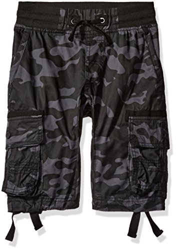Southpole Boys' Big Fine Twill All Over Camo Jogger Shorts with Cargo Pockets, Grey/Black Medium