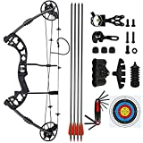 "BARCHERY Compound Hunting Bow Kit Archery Hunting Bow Package with 4pcs 30"" Carbon Arrows Black"