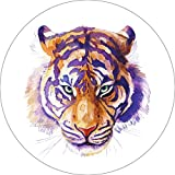 Tiger Home Wall Shelf Decor Animal Decorations Watercolor Round Sign - 12 Inch, Plastic