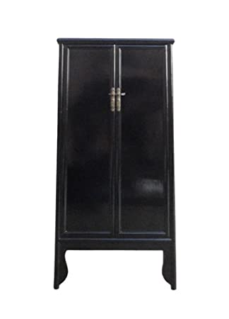 Charmant Chinese Oriental Black Lacquer Tall Armoires Cabinet Acs1141