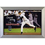 MLB New York Yankees Derek Jeter the Captain Igned Framed 14x20 Panoramic in the Game Dirt Collage