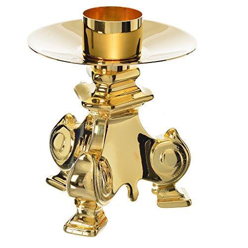 Baroque candlestick in golden brass, polished
