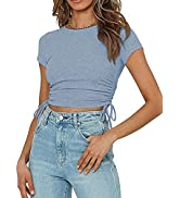 OWIN Women Tank Tops Short Sleeve Ruched Drawstring Ribbed Knit Workout Crop Top T Shirts