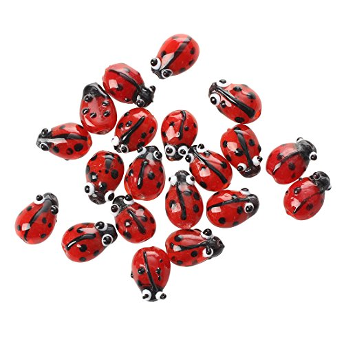 SODIAL 20 Red Lampwork Glass Ladybug Ladybird Loose Beads 12mm HOT - Glass Bird Beads