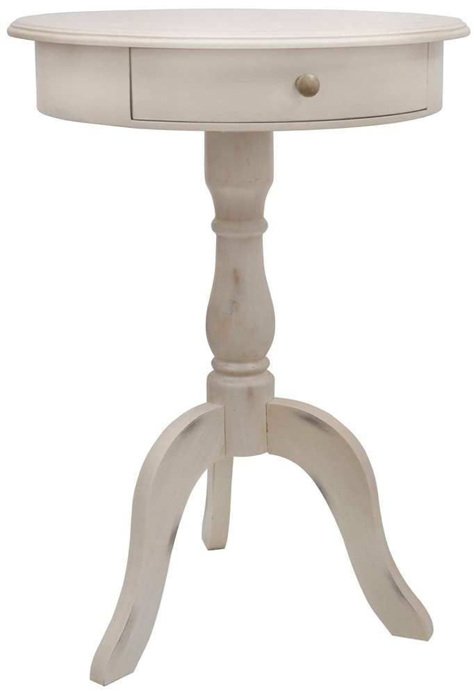 Décor Therapy FR1464 Pedestal Table with Drawer Antique White
