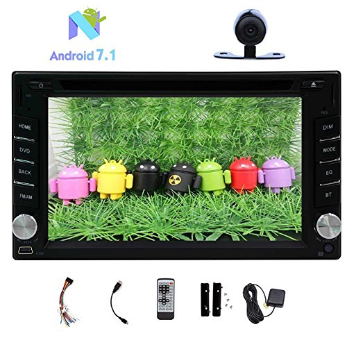 (Eincar 2GHZ CAPACITIVE Pure Android 7.1 Dual-CPU Octa-core 2GB RAM +32GB ROM Double Din Car DVD PC Stereo Radio GPS WiFi 3G/4G 1080P HD Bluetooth None-TV Free Camera Remote Control)
