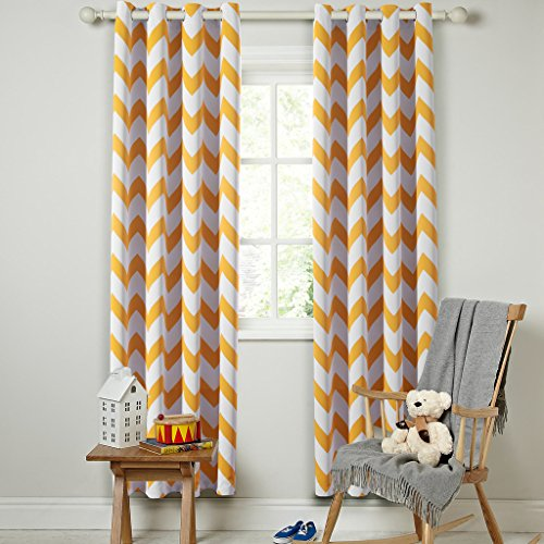 FlamingoP Energy Smart Thermal Insulated Chevron Blackout Drapes Printed Window Curtains for Winter, Grommet Top, Set of Two Panels, each 96 by 52- Orange (Blocks Nursery Decor)