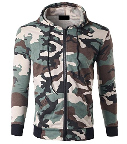 Lime Green Leisure Suit (Coolred Mens Cardigan Hooded Camouflage Stylish Coat Leisure Pullover Lime L)