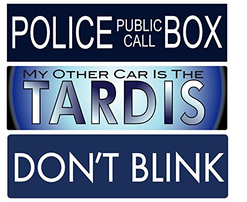 THREE PACK: BUMPER STICKERS: DR. WHO Vinyl . Weeping Angels & TARDIS 3