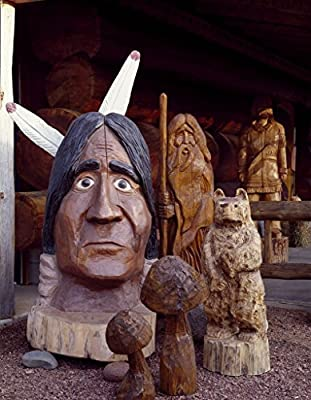 Eagle River, WI Photo - Cedar and wood carvings created by chain-saw carver Ken Schels at Carl's Wood Art Museum, Eagle River, Wisconsin - Carol Highsmith