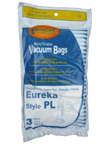 9 Eureka Electrolux Style PL Upright Vacuum Bags, Bagged Uprights, Maxima Vacuum Cleaners, 62389, 62389A, EU-62389, 62389-6, 62480, 62389-g3, 4750, 4750A, 4760, 4760AZ, by EnviroCare (Eureka 4750a Vacuum)
