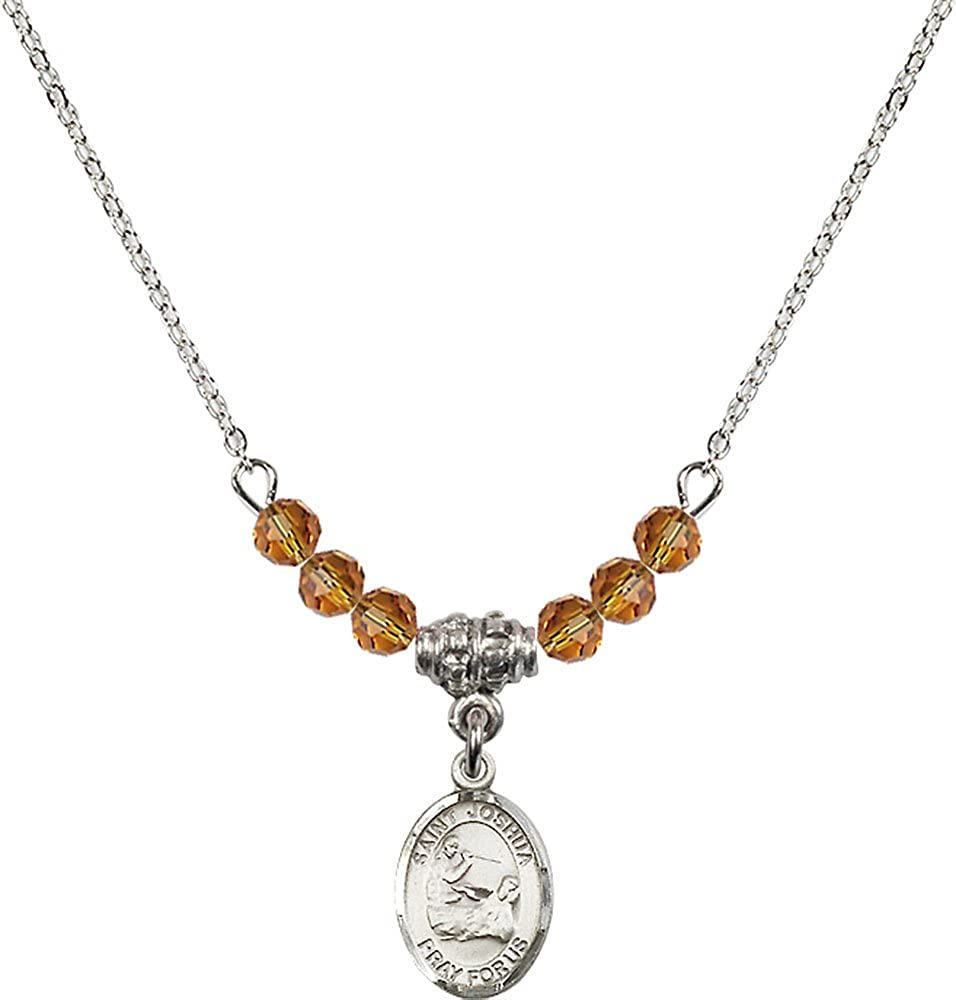 18-Inch Rhodium Plated Necklace with 4mm Topaz Birthstone Beads and Sterling Silver Saint Joshua Charm.