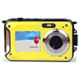 Dual-screen Camera,KINGEAR 24 MP Front And Rear Life Waterproof Digital Camera-Yellow