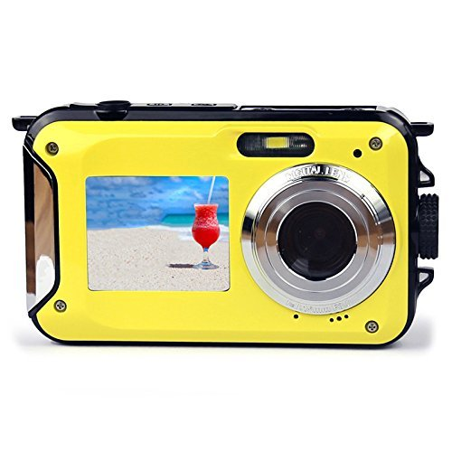 Dual-screen Camera,KINGEAR 24 MP Front And Rear Life Waterproof Digital Camera-Yellow